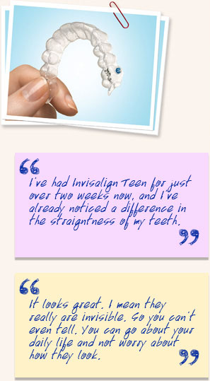 Example of Invisalign Teen and testimonials